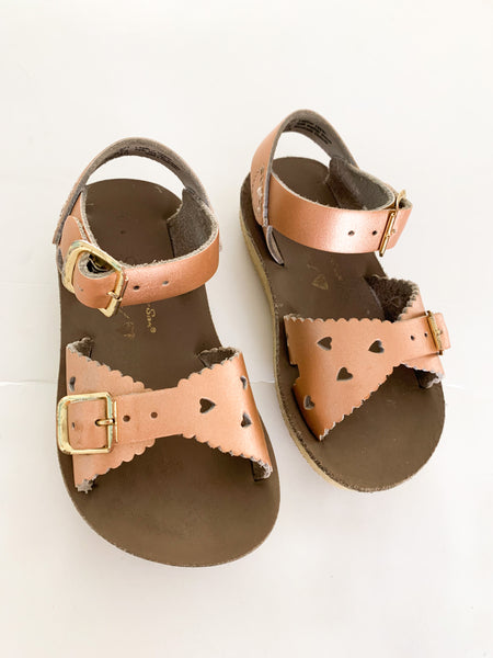 Saltwater rose gold sandals(size 6)