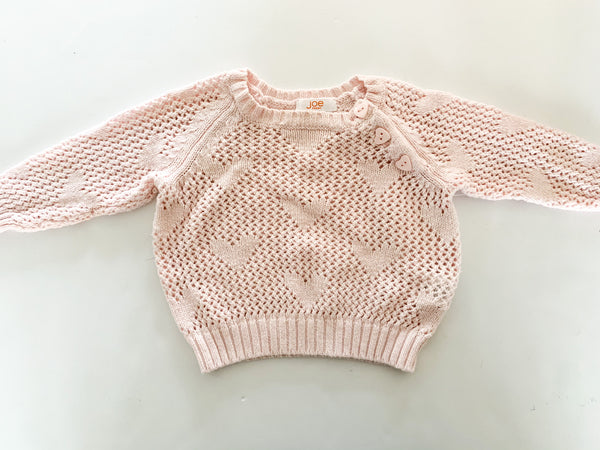 Joe Fresh pink knit sweater with hearts size: 6-12 months
