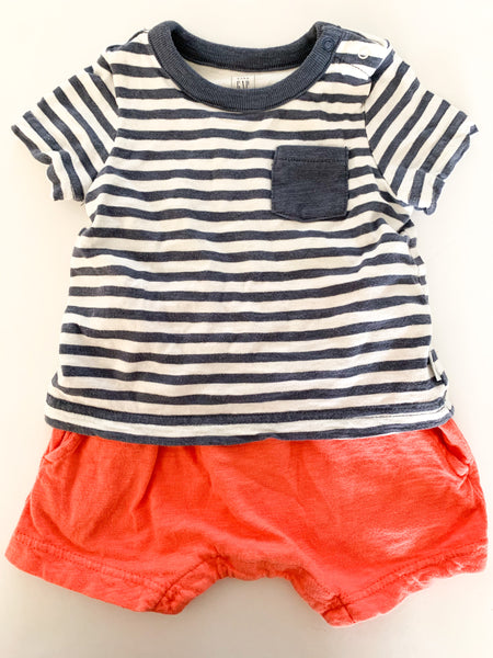 Gap stripe blue shirt w/ red shorts attached (6-12 months)