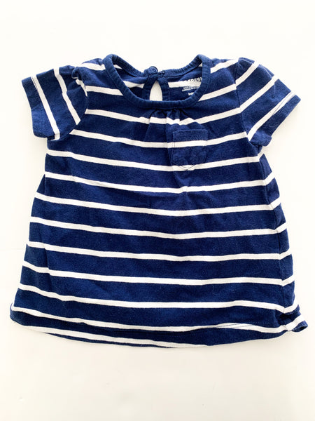 Joe fresh blue stripe dress  w/pocket set of 2 (3-6 months)