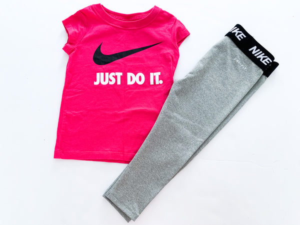 Nike pink logo shirt with grey pants (size 1-2)