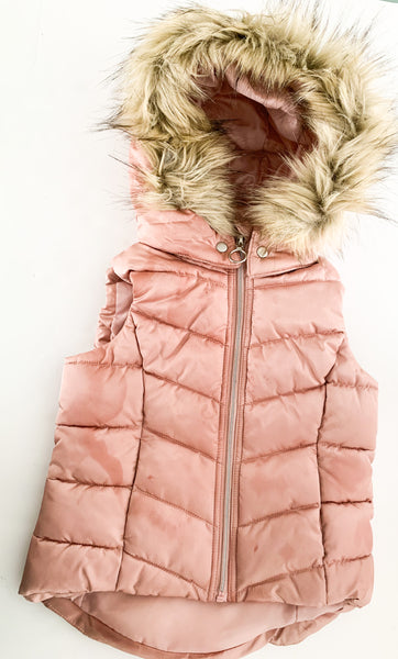 HM pink puffer vest with fur hood (sz 4-6)