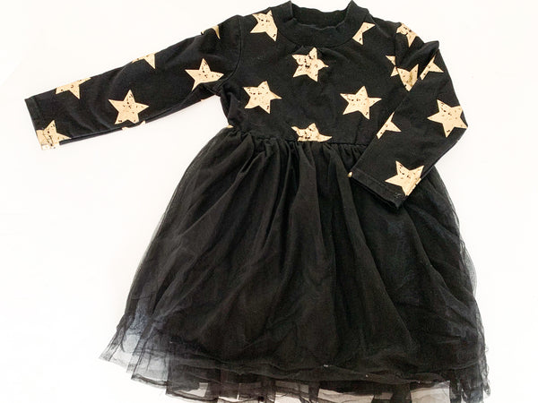 Doe a Dear black  tulle dress w/gold stars   (size 7)