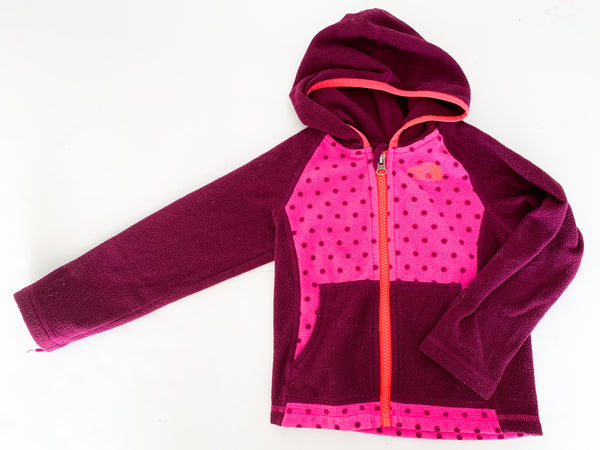 North face pink polka dot fleece jacket  (size 3)