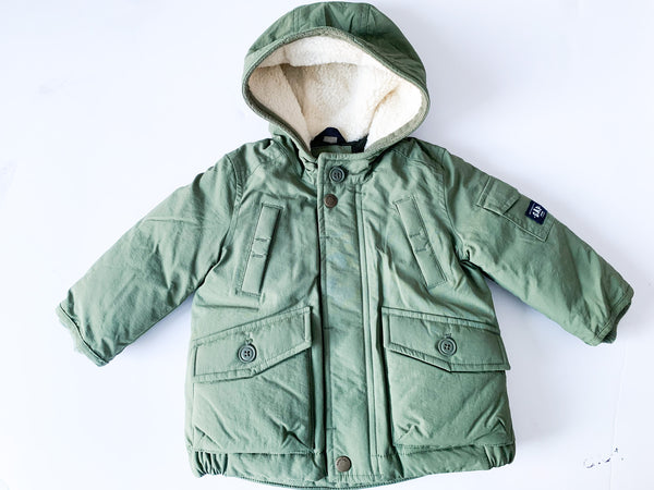 Baby Gap army green winter parka with Sherpa lined hood size 6-12 months