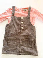Primark 2pc rose pink long sleeve cotton shirt with grey polkadot corduroy overall dress dress size 9-12 months