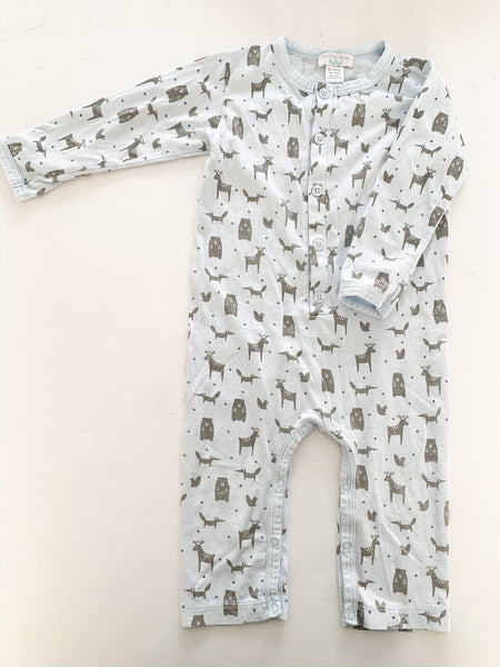 Feather Baby 100% pima cotton light blue woodlands graphic romper size 12-18 months
