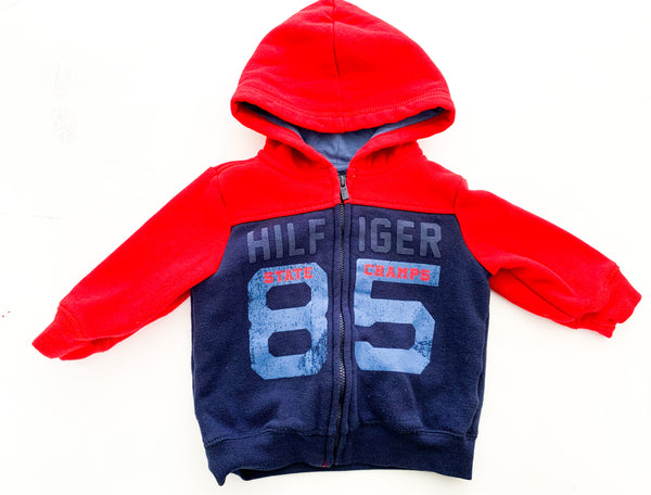 Tommy Hilfiger red and navy zip up hood (12 months)