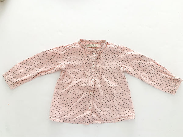 Zara pink with grey hearts long sleeve shirt size: 2/3Y