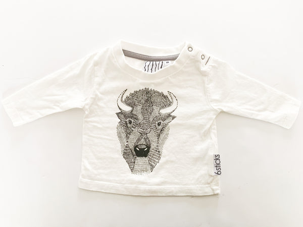6 sticks Buffalo print ivory LS shirt (NB)