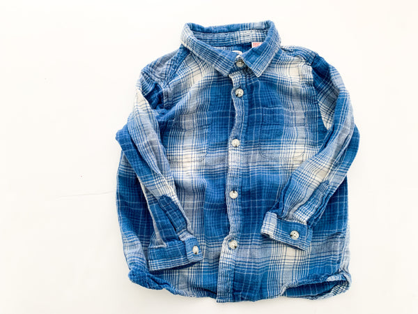 Zara blue and white plaid button down LS shirt (12/18 months)