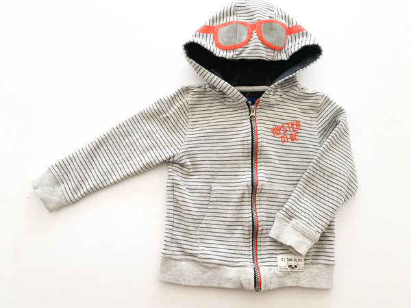 "Tom Tailer grey stripped hooded sweater ""hipster to be"" size 104/110 (4/5 Y)"
