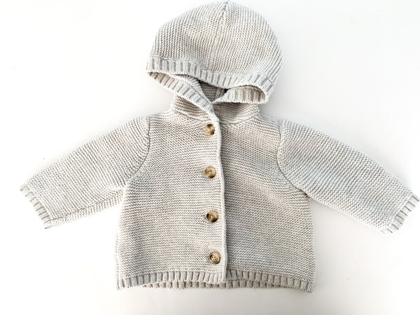 Old Navy grey knit cardigan w/hood (3-6 months)