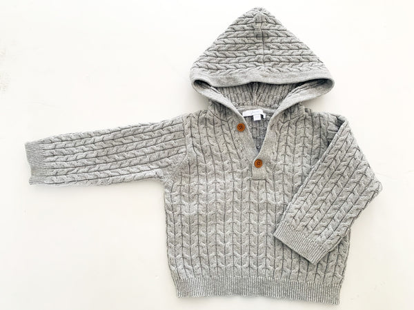 Jacadi grey cable knit pullover with hoodie size 18 months