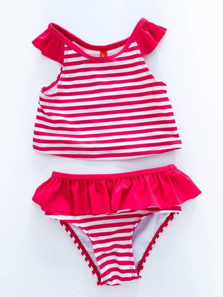 Joe Fresh pink and white stripe 2pc bathing suit with ruffle details size 12-18 months