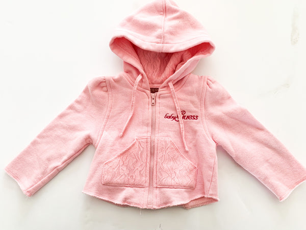 Guess pink with lace trim hood sweater (18 months)