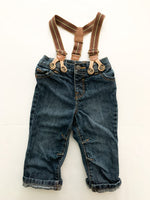 Joe fresh jeans with suspenders (3-6 months)