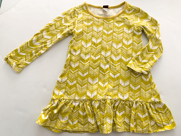 Tea yellow chevron print peplum bottom dress (size 3)
