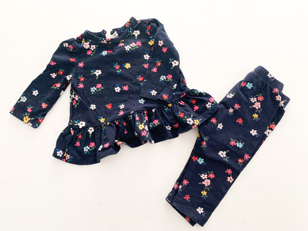 Gap blue floral peplum LS with leggings (3-6 months)