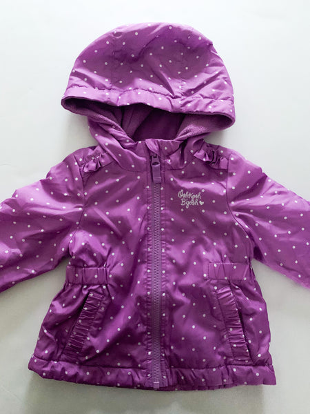 Osh kosh purple polka dot fleece lined jacket (12 months)