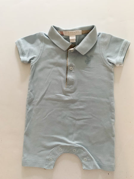 Burberry baby blue collared romper (6 months)