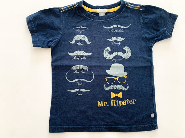 Petit Lem navy tee shirt with staches (Mr Hipster) size 2 years
