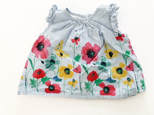 Baby Gap blue stripe floral tank with ruffled details size 3-6 months