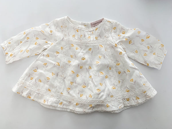 Catherine Malandrino yellow floral and white embroidery shirt (0-3 months)