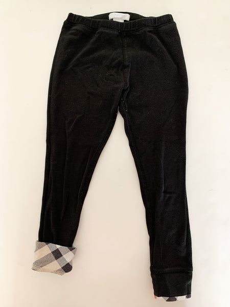 Burberry black leggings with plaid trim   (size 6)