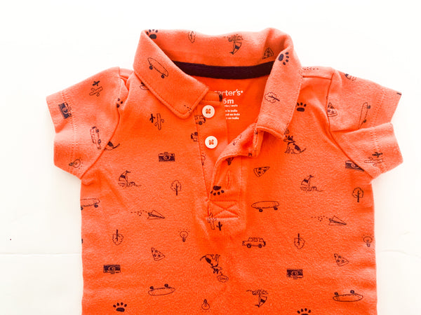 Carters orange summer print polo onesie (6 months)