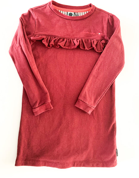 Tumble n dry burgundy ruffle sweater dress (size 5/6)