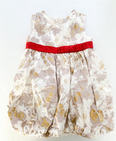 Old Navy floral sleeveless dress with gold metallic dress & red belt size 3T