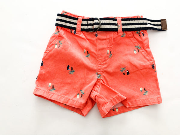 The children's place  shorts with toucan and belt (3-6 months)