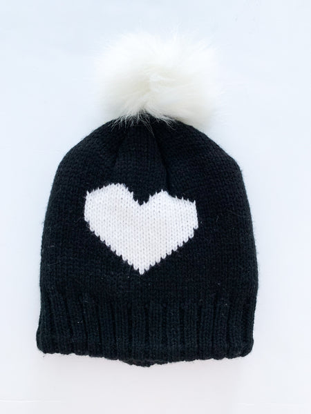 Can co. Black heart knit toque with pom  (size 2)