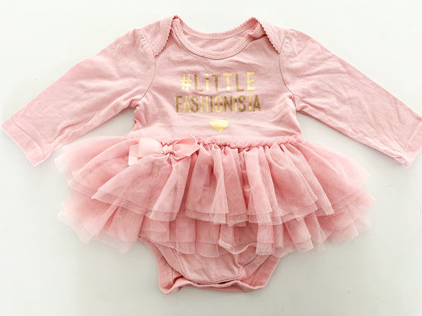 The Children's Place pink little fashionista with tulle long sleeve bodysuit size 3-6 months