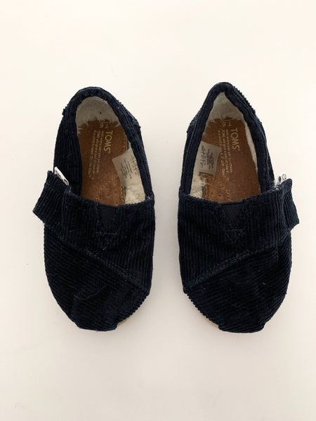Toms navy corduroy slip on shoes size T6