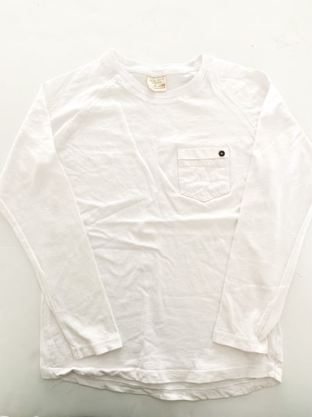 Zara white long sleeve tee shirt with pocket size 7Y