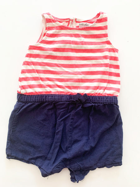 Baby Gap pink & white stripes with navy bottom romper size 0-3 months