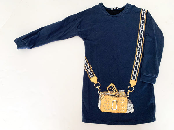 Marc Jacobs navy LS dress w/ yellow purse  (size 6)