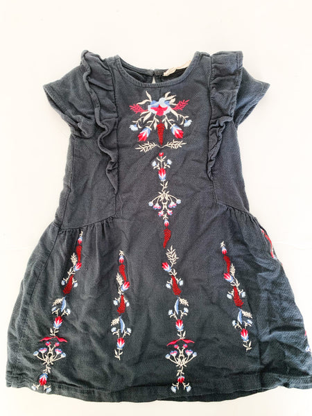 Zara grey ruffle dress w/ colored embroidery (size 6)