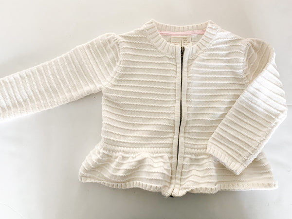 Strawberry Faire ivory ribbed zip up peplum cardigan sweater size: 2T