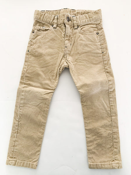 H&M tan coloured thin cord pants size 2-3Y