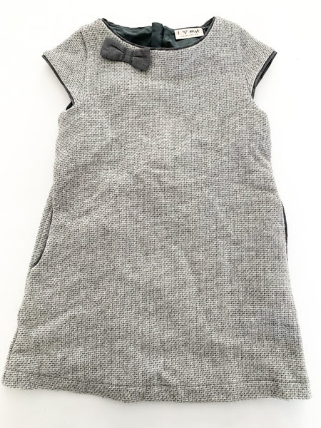 Next grey dress with bows & side pockets size: 3Y