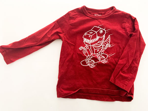 The Children's Place burgundy dino on skateboard long sleeve shirt size 2T