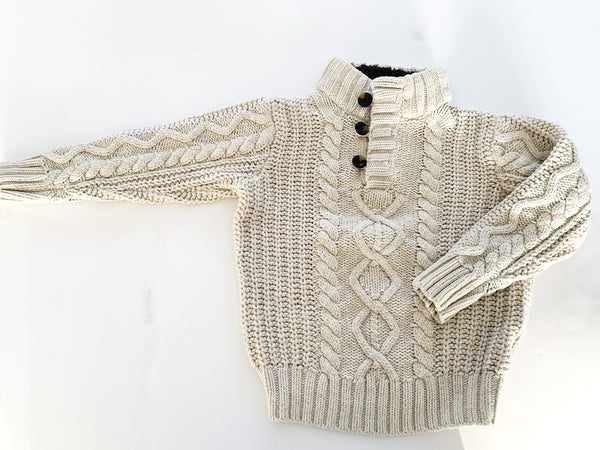 Baby Gap ecru cable knit long sleeve sweater with button details and brown fleece collar size 4Y