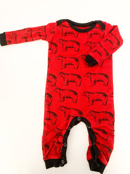 Wild & Cozy red bear sleeper (6-12 months)