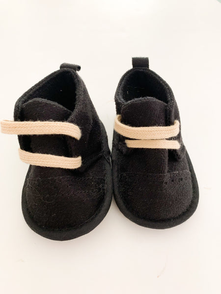 Lovable friends black booties with faux laces (0-6 months)
