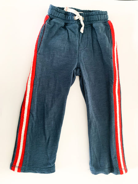 Mini boden blue sweats with red & white trim (size 3)
