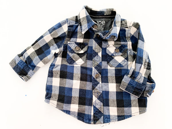 Joe fresh navy plaid button LS shirt (3-6 months)