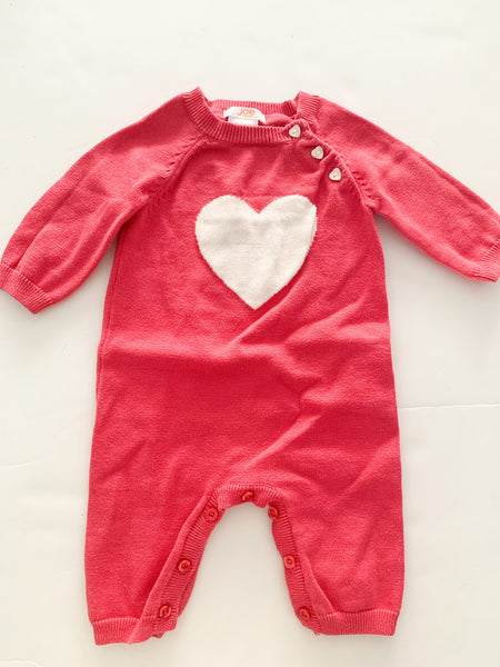 Joe Fresh pink with white heart knit romper size 0-3 months